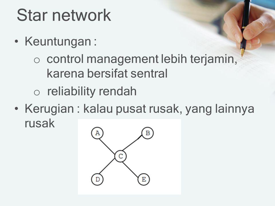 Star network Keuntungan : o control management lebih terjamin, karena bersifat sentral o reliability rendah Kerugian : kalau pusat rusak, yang lainnya