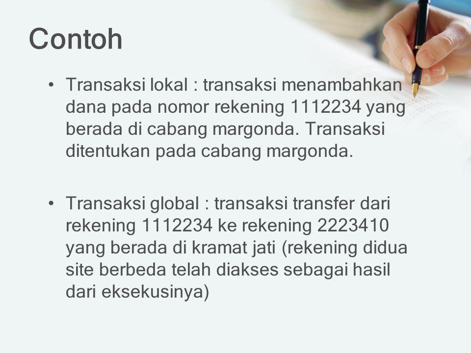 Contoh Transaksi lokal : transaksi menambahkan dana pada nomor rekening 1112234 yang berada di cabang margonda. Transaksi ditentukan pada cabang margo