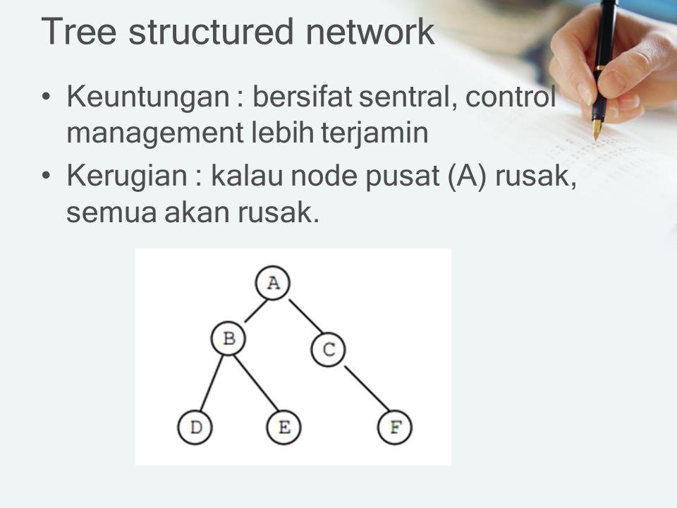 Tree structured network Keuntungan : bersifat sentral, control management lebih terjamin Kerugian : kalau node pusat (A) rusak, semua akan rusak.