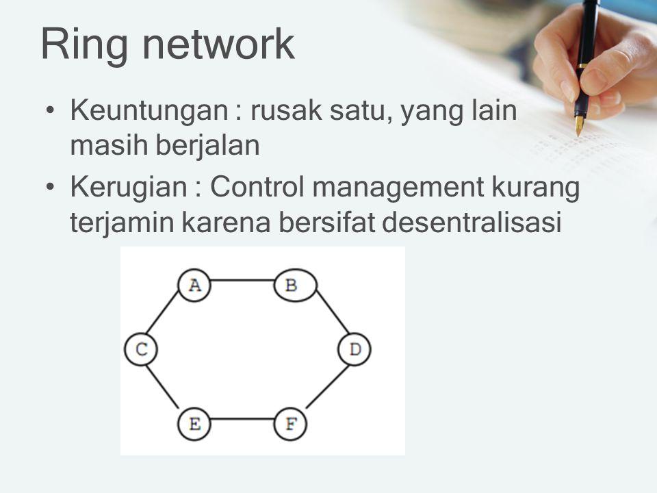 Ring network Keuntungan : rusak satu, yang lain masih berjalan Kerugian : Control management kurang terjamin karena bersifat desentralisasi