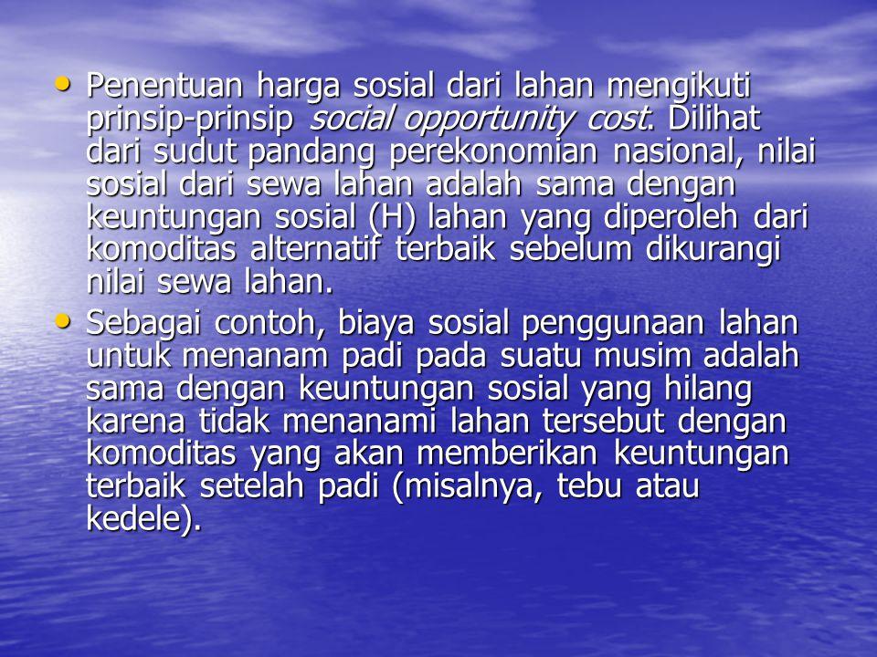 Penentuan harga sosial dari lahan mengikuti prinsip-prinsip social opportunity cost. Dilihat dari sudut pandang perekonomian nasional, nilai sosial da
