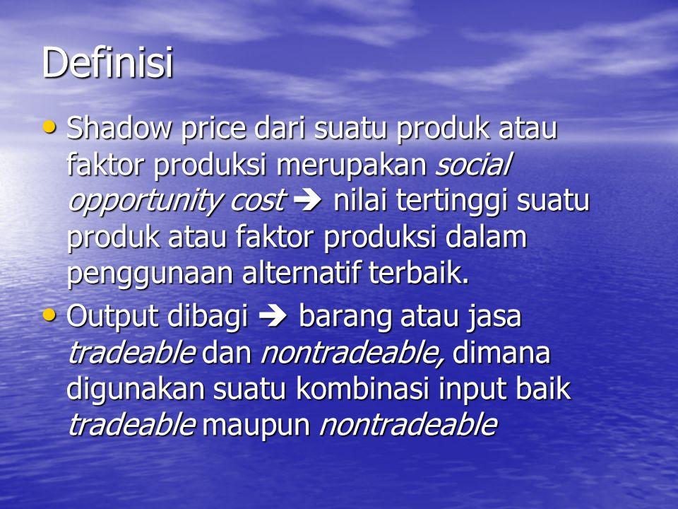 Definisi Shadow price dari suatu produk atau faktor produksi merupakan social opportunity cost  nilai tertinggi suatu produk atau faktor produksi dal