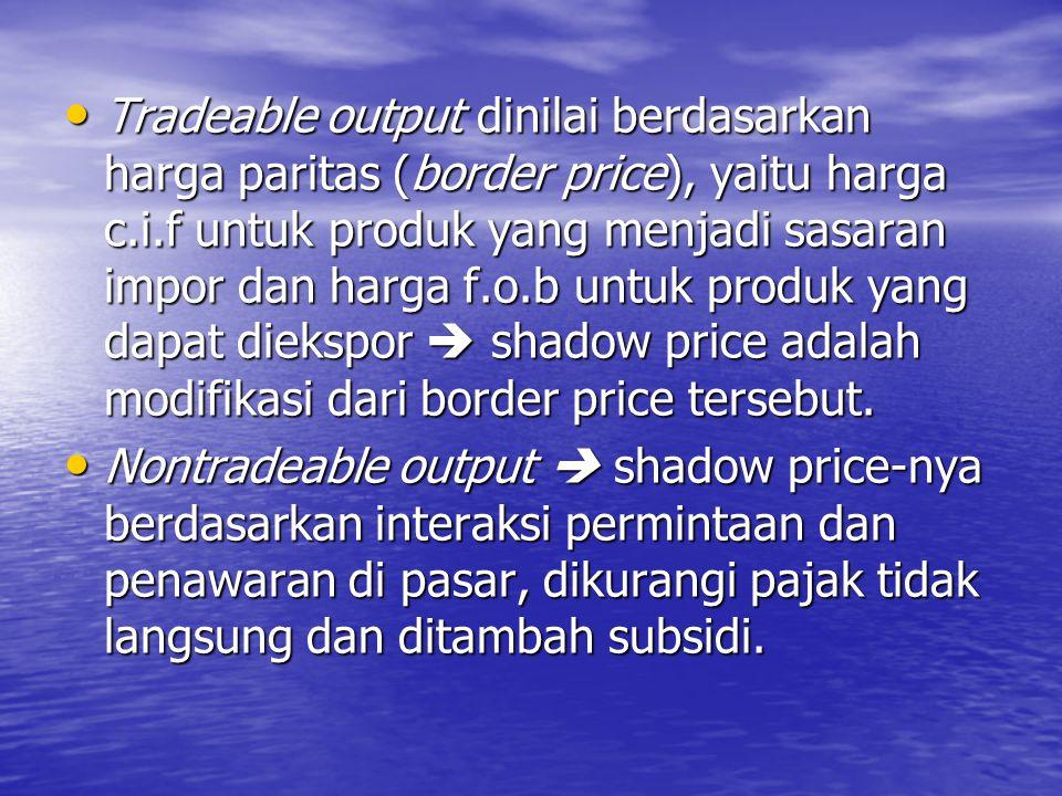 Harga Sosial untuk Output dan Input Tradabel Harga sosial (harga efisiensi) untuk barang- barang tradabel  harga internasional (harga dunia) untuk barang sejenis (comparable) yang merupakan ukuran social opportunity cost terbaik bagi barang-barang tersebut.
