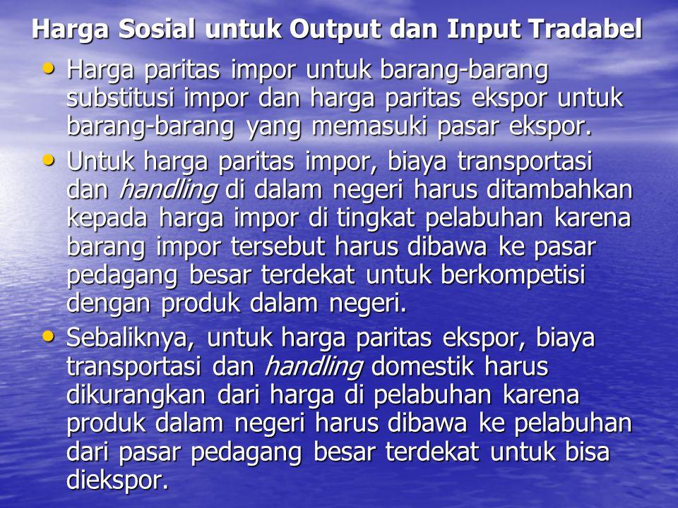 Harga Sosial untuk Output dan Input Tradabel Harga paritas impor untuk barang-barang substitusi impor dan harga paritas ekspor untuk barang-barang yan