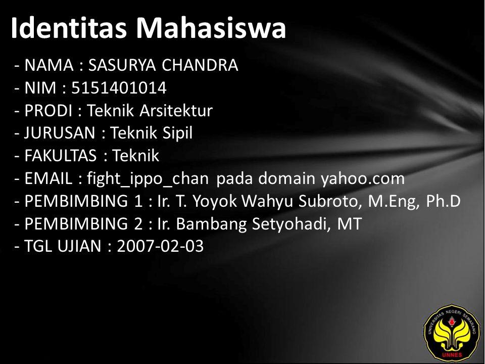 Identitas Mahasiswa - NAMA : SASURYA CHANDRA - NIM : 5151401014 - PRODI : Teknik Arsitektur - JURUSAN : Teknik Sipil - FAKULTAS : Teknik - EMAIL : fight_ippo_chan pada domain yahoo.com - PEMBIMBING 1 : Ir.