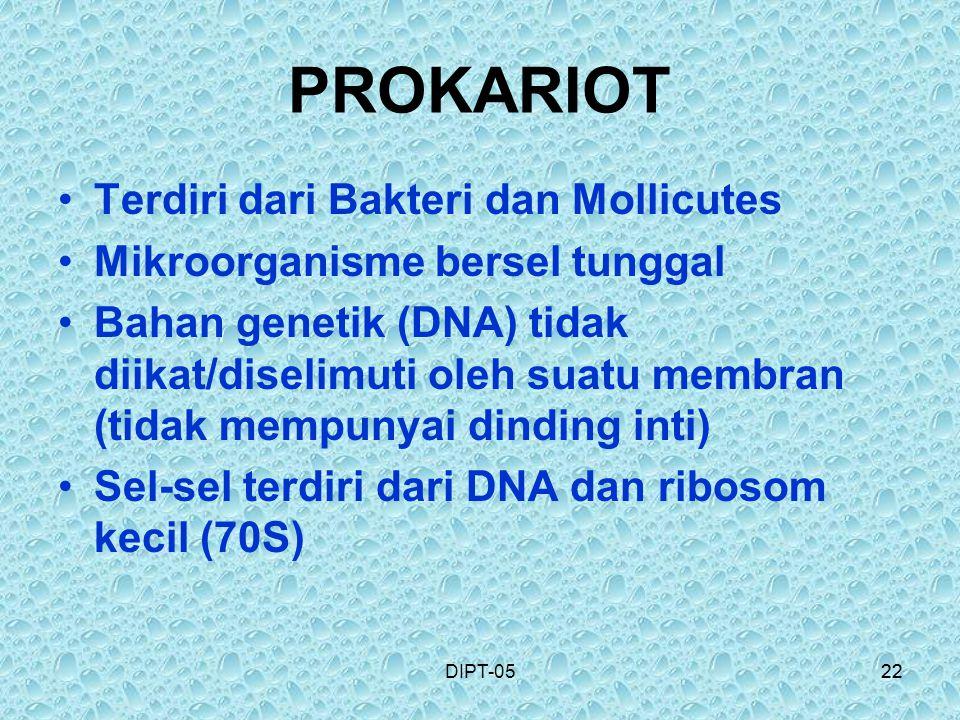22DIPT-0522 PROKARIOT Terdiri dari Bakteri dan Mollicutes Mikroorganisme bersel tunggal Bahan genetik (DNA) tidak diikat/diselimuti oleh suatu membran