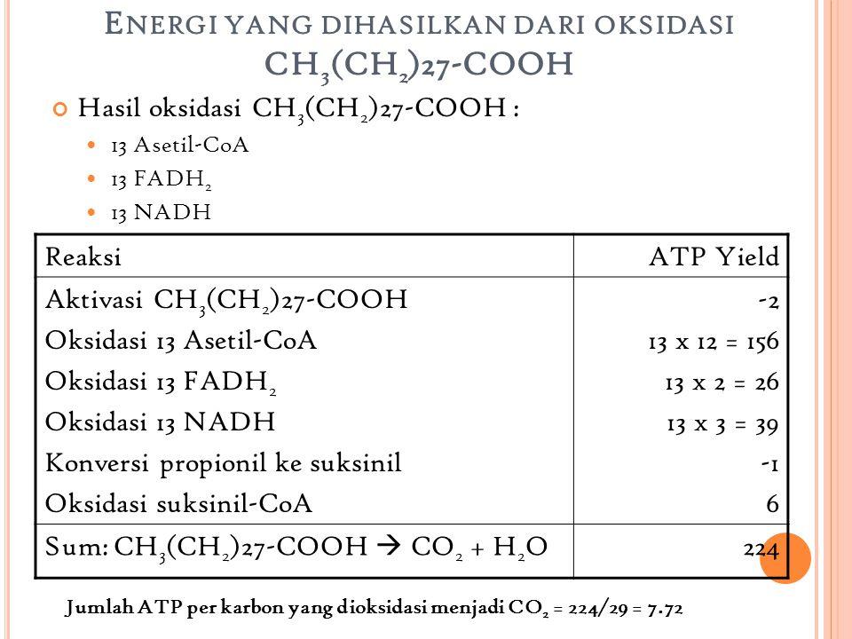 E NERGI YANG DIHASILKAN DARI OKSIDASI CH 3 (CH 2 )27-COOH Hasil oksidasi CH 3 (CH 2 )27-COOH : 13 Asetil-CoA 13 FADH 2 13 NADH ReaksiATP Yield Aktivasi CH 3 (CH 2 )27-COOH Oksidasi 13 Asetil-CoA Oksidasi 13 FADH 2 Oksidasi 13 NADH Konversi propionil ke suksinil Oksidasi suksinil-CoA -2 13 x 12 = 156 13 x 2 = 26 13 x 3 = 39 6 Sum: CH 3 (CH 2 )27-COOH  CO 2 + H 2 O224 Jumlah ATP per karbon yang dioksidasi menjadi CO 2 = 224/29 = 7.72