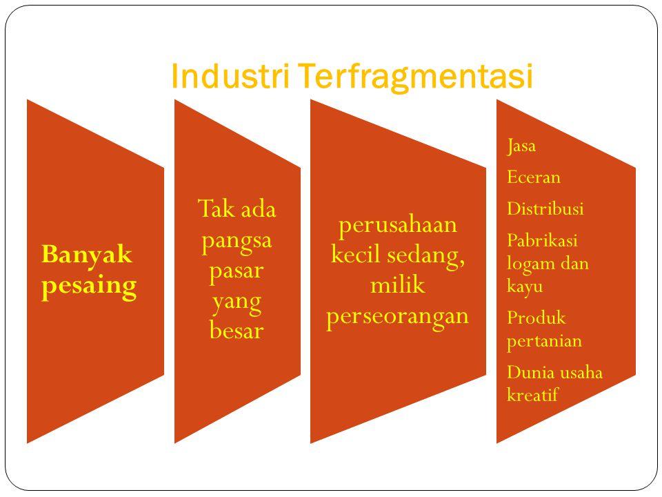 Industri Terfragmentasi Banyak pesaing Tak ada pangsa pasar yang besar perusahaan kecil sedang, milik perseorangan Jasa Eceran Distribusi Pabrikasi lo