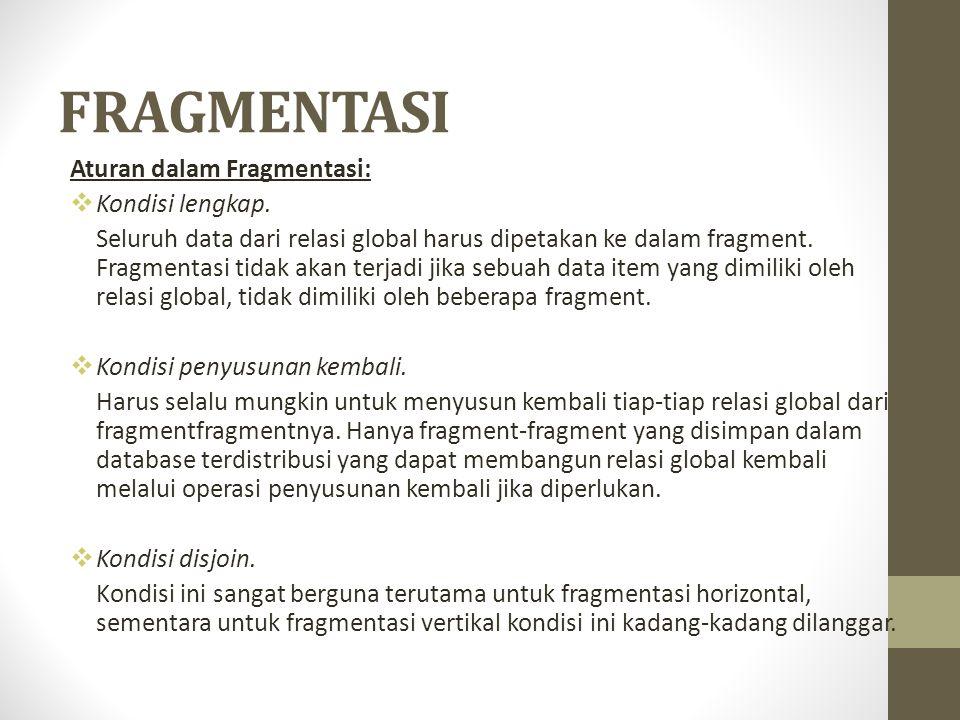 FRAGMENTASI Aturan dalam Fragmentasi:  Kondisi lengkap. Seluruh data dari relasi global harus dipetakan ke dalam fragment. Fragmentasi tidak akan ter