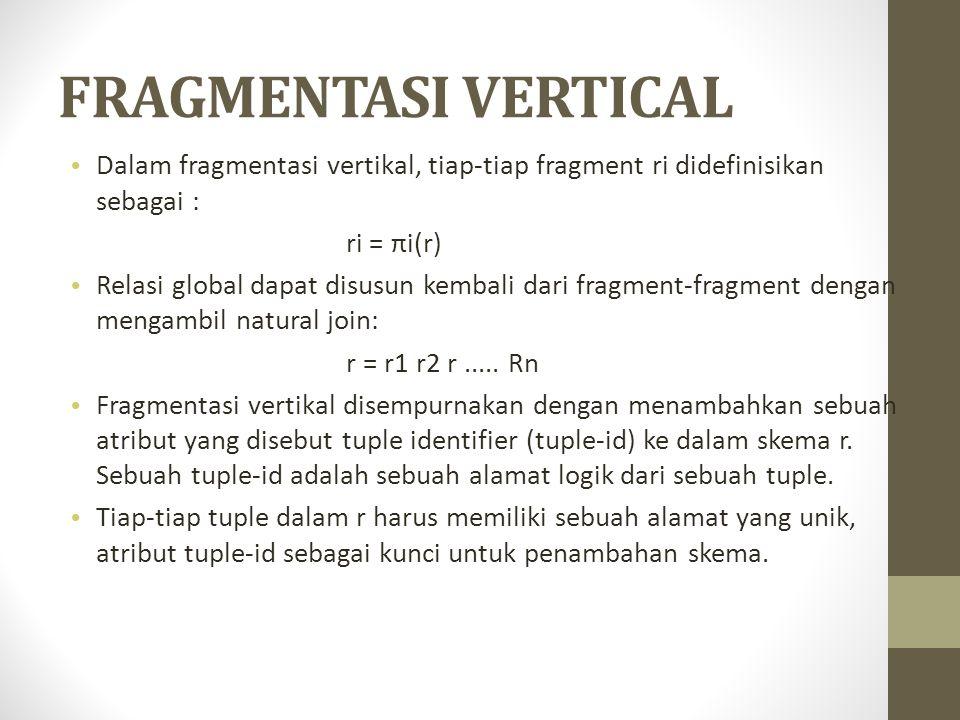 FRAGMENTASI VERTICAL Dalam fragmentasi vertikal, tiap-tiap fragment ri didefinisikan sebagai : ri = πi(r) Relasi global dapat disusun kembali dari fra