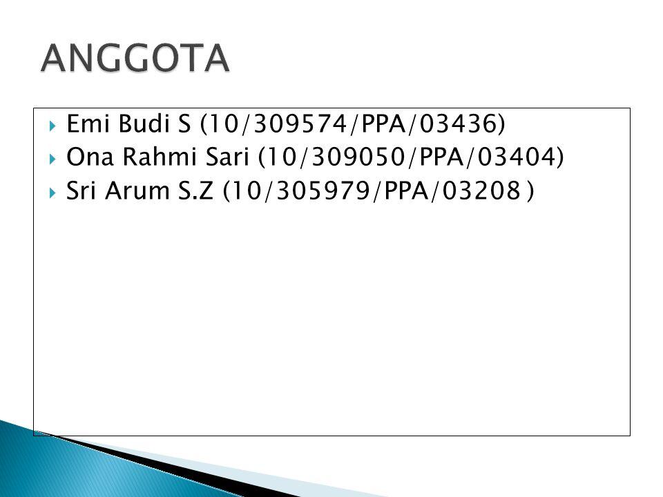  Emi Budi S (10/309574/PPA/03436)  Ona Rahmi Sari (10/309050/PPA/03404)  Sri Arum S.Z (10/305979/PPA/03208 )