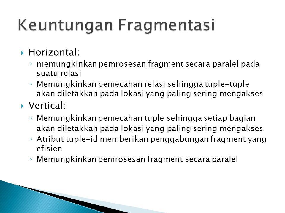  Horizontal: ◦ memungkinkan pemrosesan fragment secara paralel pada suatu relasi ◦ Memungkinkan pemecahan relasi sehingga tuple-tuple akan diletakkan