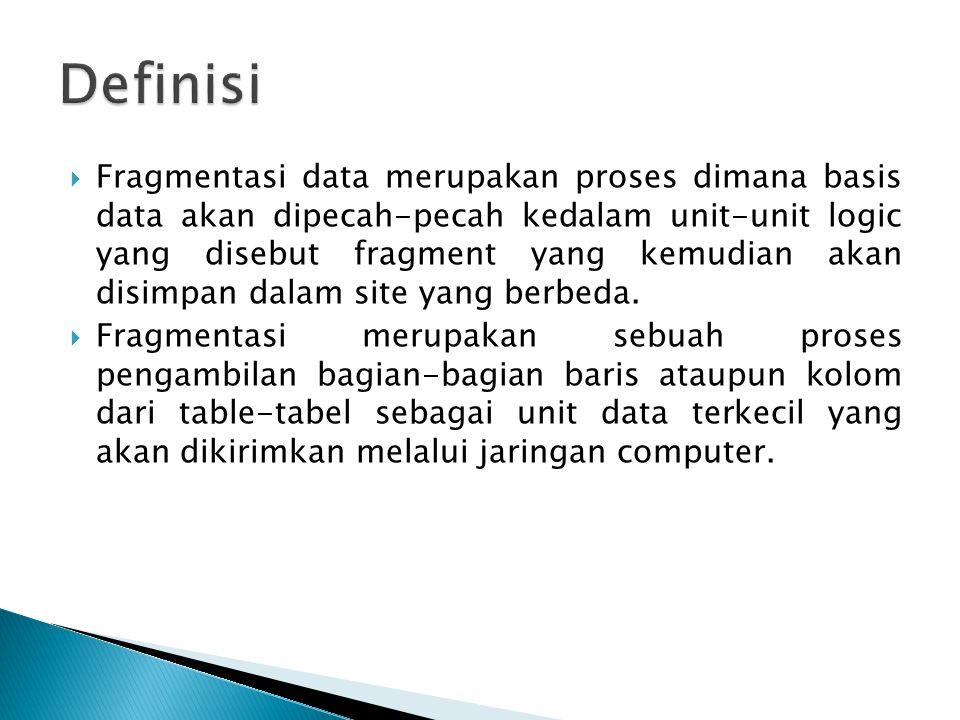  Fragmentasi data merupakan proses dimana basis data akan dipecah-pecah kedalam unit-unit logic yang disebut fragment yang kemudian akan disimpan dal