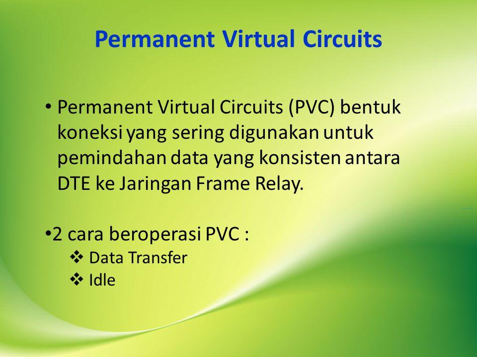 Permanent Virtual Circuits Permanent Virtual Circuits (PVC) bentuk koneksi yang sering digunakan untuk pemindahan data yang konsisten antara DTE ke Jaringan Frame Relay.