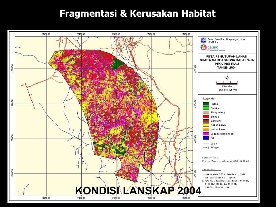 KONDISI LANSKAP 1985 KONDISI LANSKAP 1989 KONDISI LANSKAP 1992 KONDISI LANSKAP 2000 KONDISI LANSKAP 2004 Fragmentasi & Kerusakan Habitat