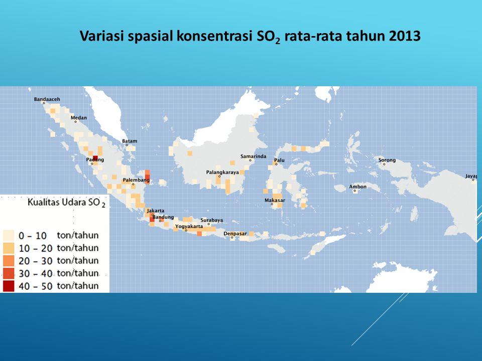 Variasi spasial konsentrasi SO 2 rata-rata tahun 2013