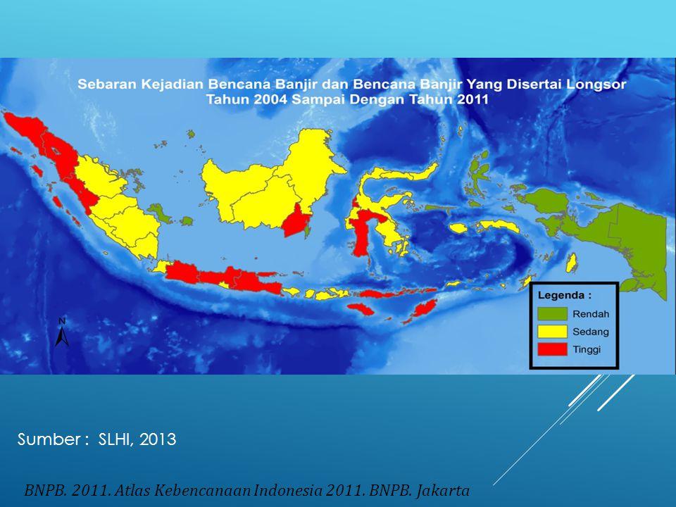 BNPB. 2011. Atlas Kebencanaan Indonesia 2011. BNPB. Jakarta Sumber : SLHI, 2013