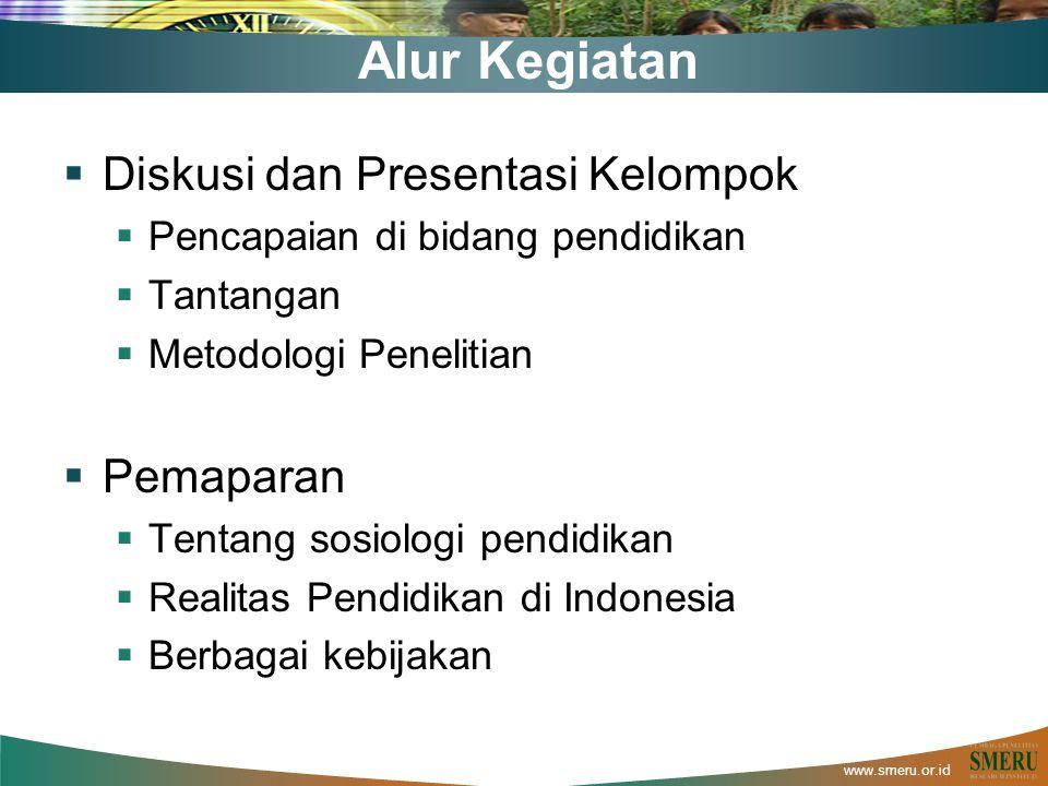 www.smeru.or.id Alur Kegiatan  Diskusi dan Presentasi Kelompok  Pencapaian di bidang pendidikan  Tantangan  Metodologi Penelitian  Pemaparan  Tentang sosiologi pendidikan  Realitas Pendidikan di Indonesia  Berbagai kebijakan
