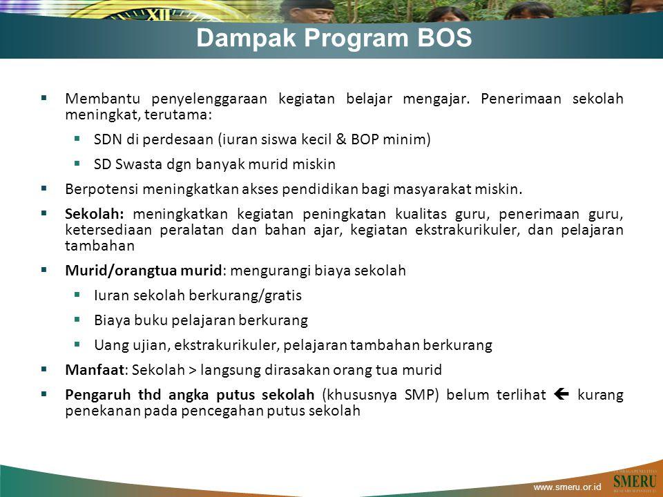 www.smeru.or.id Dampak Program BOS  Membantu penyelenggaraan kegiatan belajar mengajar. Penerimaan sekolah meningkat, terutama:  SDN di perdesaan (i