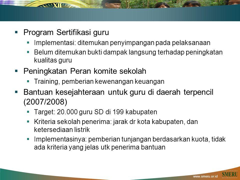 www.smeru.or.id  Program Sertifikasi guru  Implementasi: ditemukan penyimpangan pada pelaksanaan  Belum ditemukan bukti dampak langsung terhadap pe