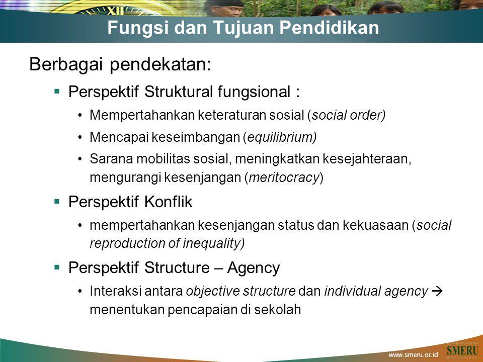 www.smeru.or.id Fungsi dan Tujuan Pendidikan Berbagai pendekatan:  Perspektif Struktural fungsional : Mempertahankan keteraturan sosial (social order