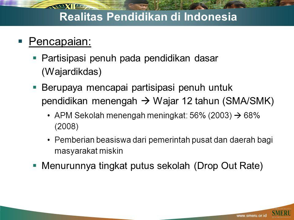 www.smeru.or.id Realitas Pendidikan di Indonesia  Pencapaian:  Partisipasi penuh pada pendidikan dasar (Wajardikdas)  Berupaya mencapai partisipasi penuh untuk pendidikan menengah  Wajar 12 tahun (SMA/SMK) APM Sekolah menengah meningkat: 56% (2003)  68% (2008) Pemberian beasiswa dari pemerintah pusat dan daerah bagi masyarakat miskin  Menurunnya tingkat putus sekolah (Drop Out Rate)