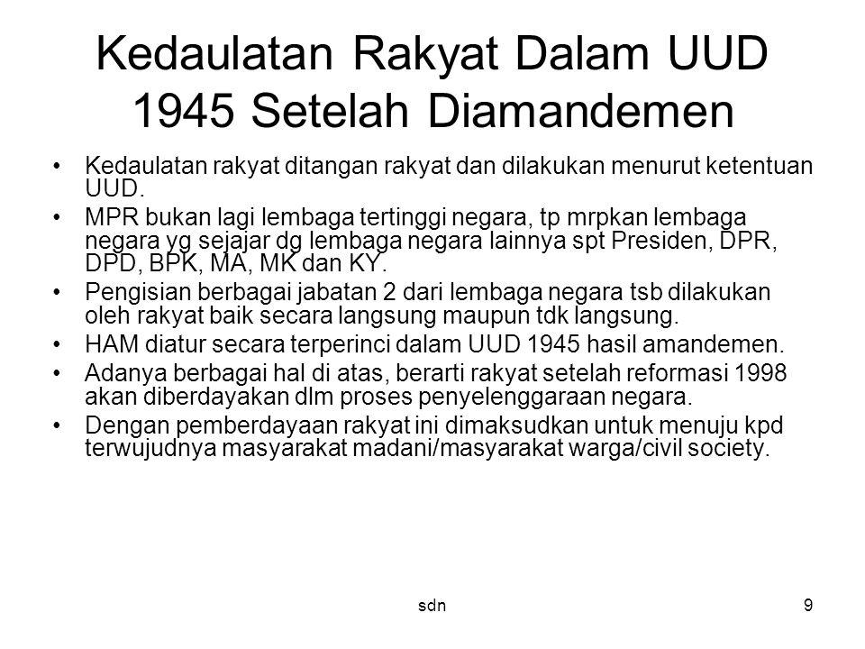 Kedaulatan Rakyat Dalam UUD 1945 Setelah Diamandemen Kedaulatan rakyat ditangan rakyat dan dilakukan menurut ketentuan UUD. MPR bukan lagi lembaga ter