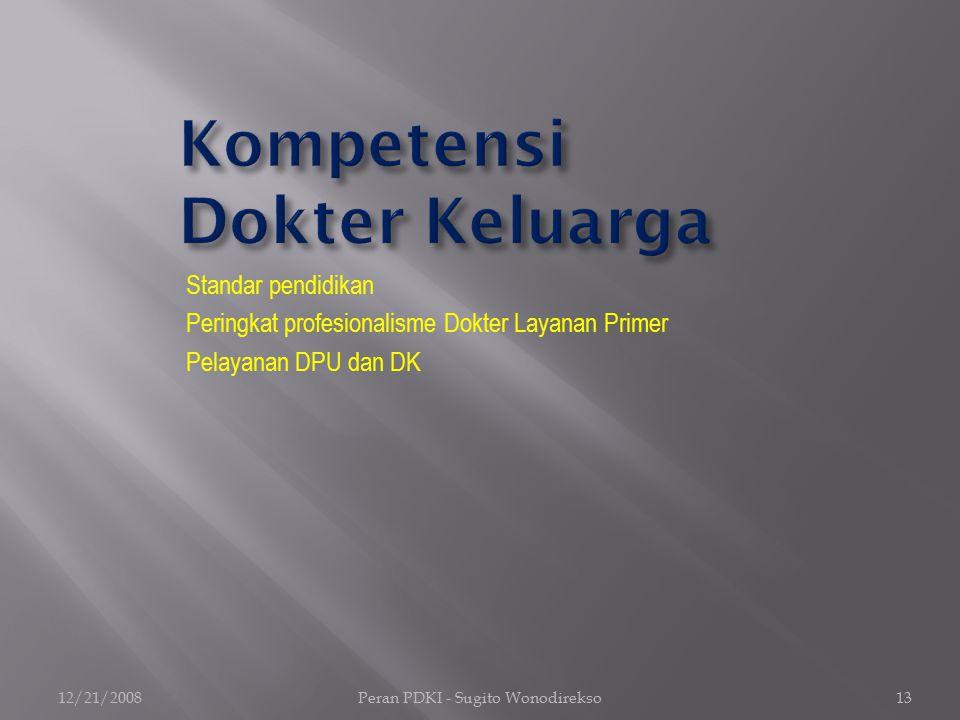 Standar pendidikan Peringkat profesionalisme Dokter Layanan Primer Pelayanan DPU dan DK 12/21/2008Peran PDKI - Sugito Wonodirekso13