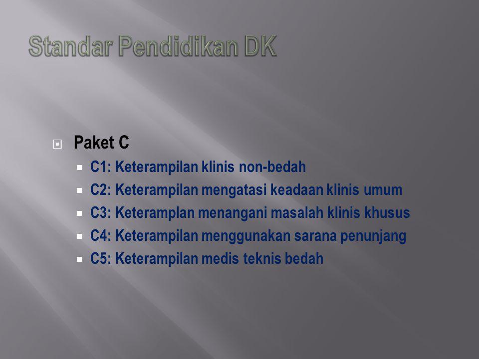  Paket C  C1: Keterampilan klinis non-bedah  C2: Keterampilan mengatasi keadaan klinis umum  C3: Keteramplan menangani masalah klinis khusus  C4: Keterampilan menggunakan sarana penunjang  C5: Keterampilan medis teknis bedah