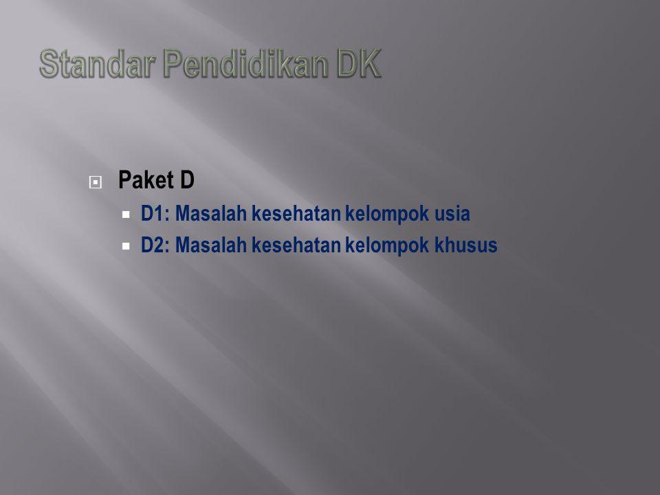  Paket D  D1: Masalah kesehatan kelompok usia  D2: Masalah kesehatan kelompok khusus