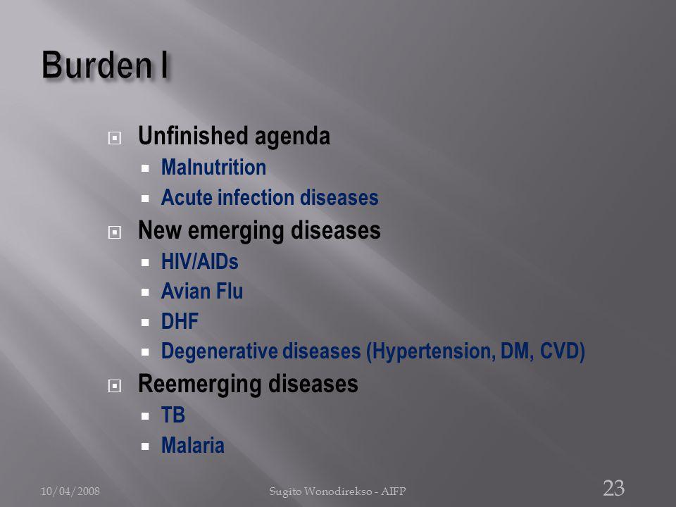  Unfinished agenda  Malnutrition  Acute infection diseases  New emerging diseases  HIV/AIDs  Avian Flu  DHF  Degenerative diseases (Hypertension, DM, CVD)  Reemerging diseases  TB  Malaria 10/04/2008Sugito Wonodirekso - AIFP 23