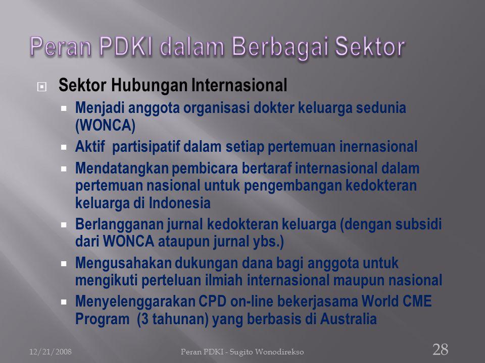  Sektor Hubungan Internasional  Menjadi anggota organisasi dokter keluarga sedunia (WONCA)  Aktif partisipatif dalam setiap pertemuan inernasional  Mendatangkan pembicara bertaraf internasional dalam pertemuan nasional untuk pengembangan kedokteran keluarga di Indonesia  Berlangganan jurnal kedokteran keluarga (dengan subsidi dari WONCA ataupun jurnal ybs.)  Mengusahakan dukungan dana bagi anggota untuk mengikuti perteluan ilmiah internasional maupun nasional  Menyelenggarakan CPD on-line bekerjasama World CME Program (3 tahunan) yang berbasis di Australia 12/21/2008Peran PDKI - Sugito Wonodirekso 28