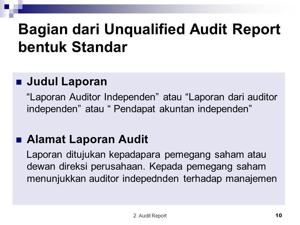 """2. Audit Report10 Judul Laporan """"Laporan Auditor Independen"""" atau """"Laporan dari auditor independen"""" atau """" Pendapat akuntan independen"""" Alamat Laporan"""