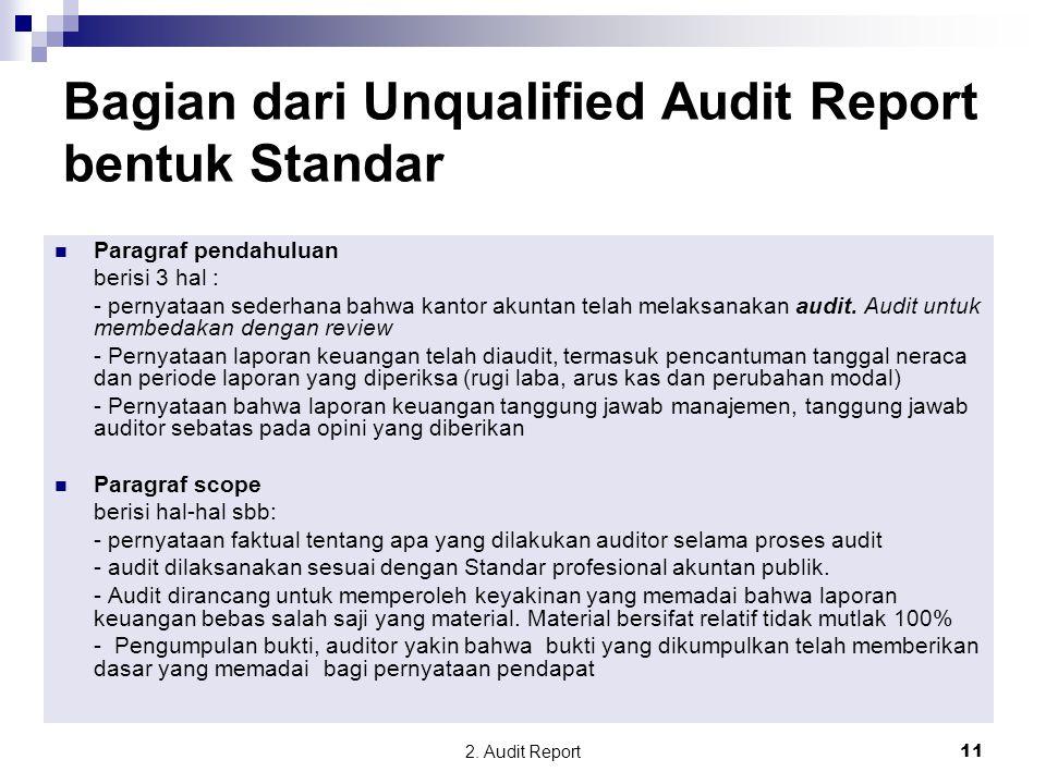 2. Audit Report11 Paragraf pendahuluan berisi 3 hal : - pernyataan sederhana bahwa kantor akuntan telah melaksanakan audit. Audit untuk membedakan den