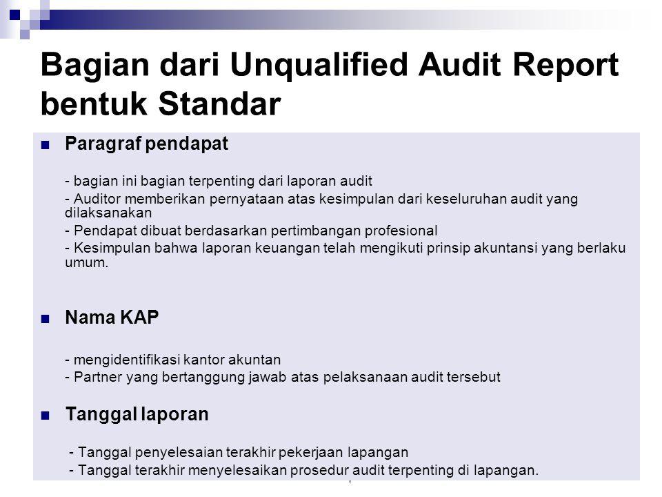 2. Audit Report12 Paragraf pendapat - bagian ini bagian terpenting dari laporan audit - Auditor memberikan pernyataan atas kesimpulan dari keseluruhan
