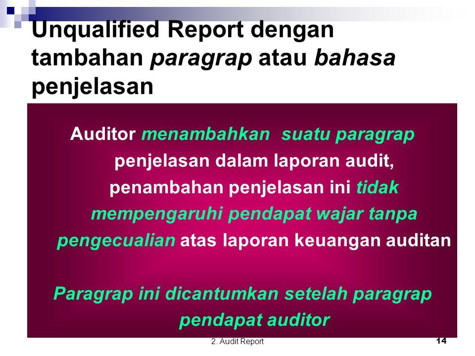 2. Audit Report14 Auditor menambahkan suatu paragrap penjelasan dalam laporan audit, penambahan penjelasan ini tidak mempengaruhi pendapat wajar tanpa