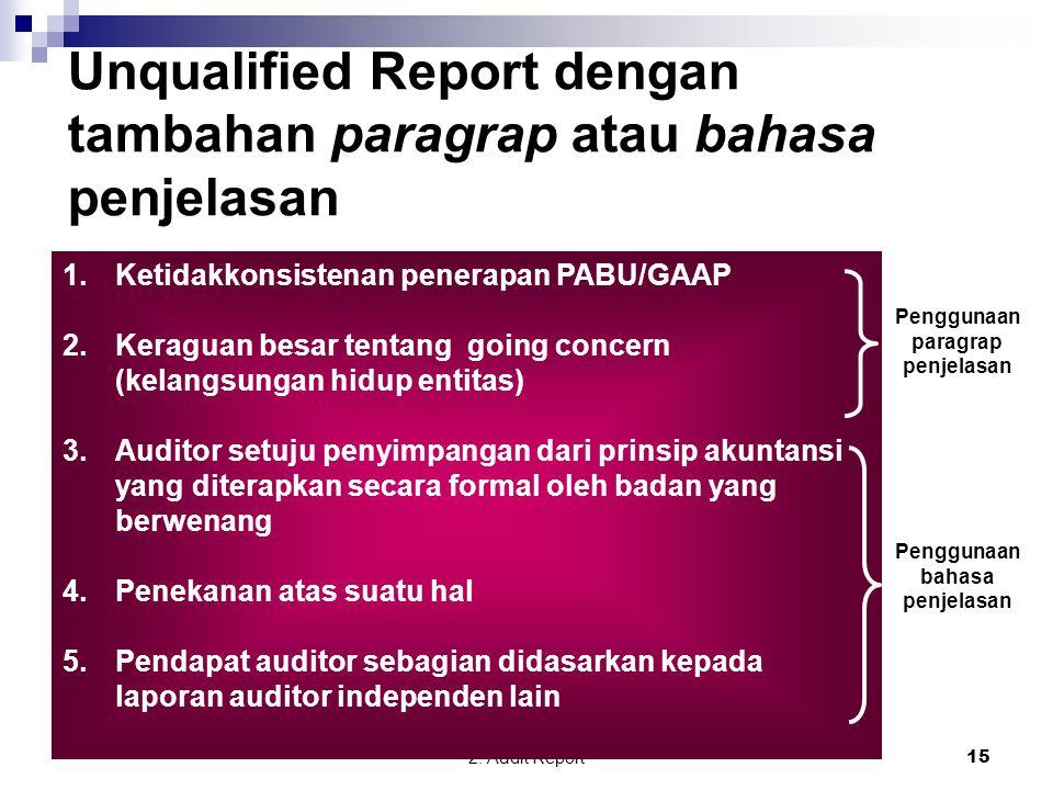 2. Audit Report15 Unqualified Report dengan tambahan paragrap atau bahasa penjelasan 1.Ketidakkonsistenan penerapan PABU/GAAP 2.Keraguan besar tentang