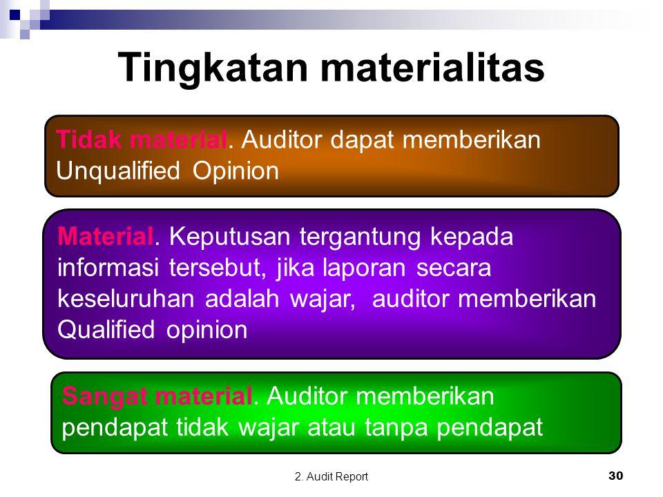 2. Audit Report30 Tingkatan materialitas Tidak material. Auditor dapat memberikan Unqualified Opinion Material. Keputusan tergantung kepada informasi