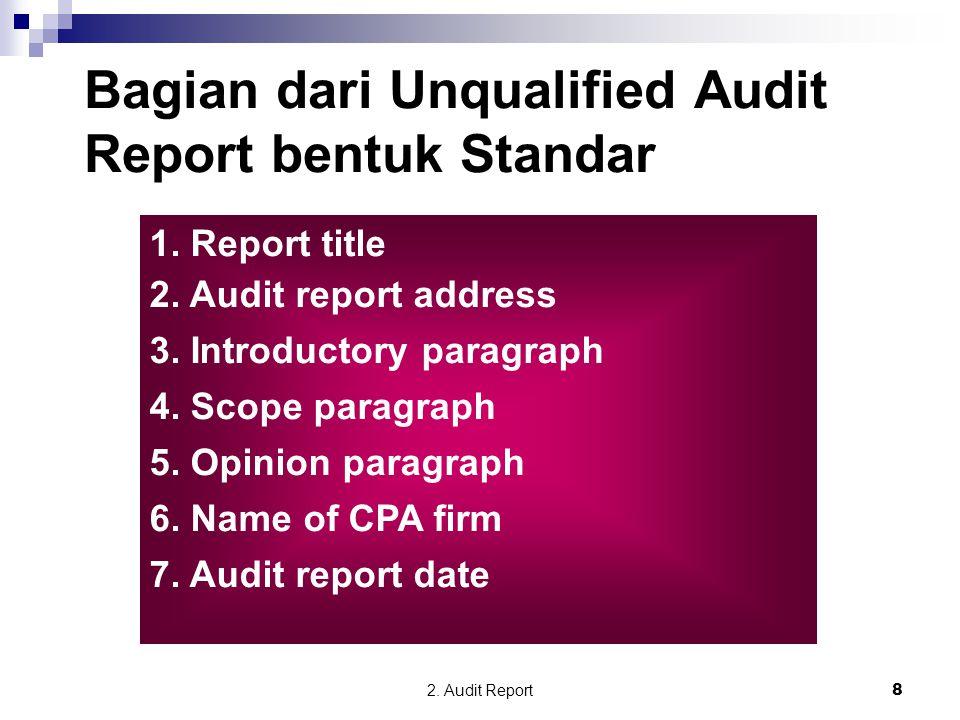 2. Audit Report8 Bagian dari Unqualified Audit Report bentuk Standar 1. Report title 2. Audit report address 3. Introductory paragraph 4. Scope paragr