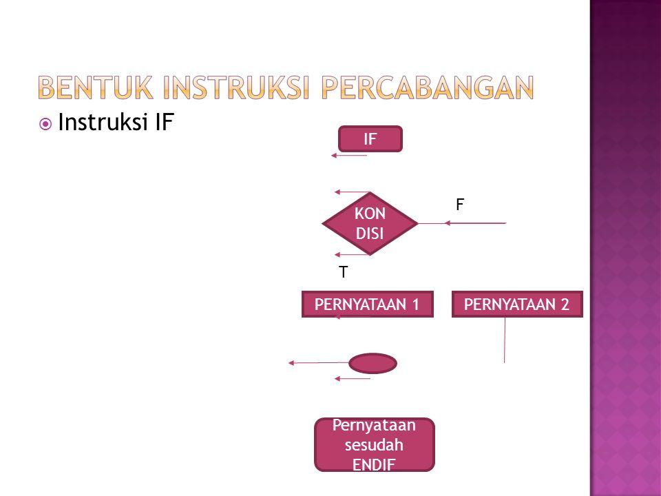  Instruksi IF KON DISI PERNYATAAN 1 IF PERNYATAAN 2 Pernyataan sesudah ENDIF F T