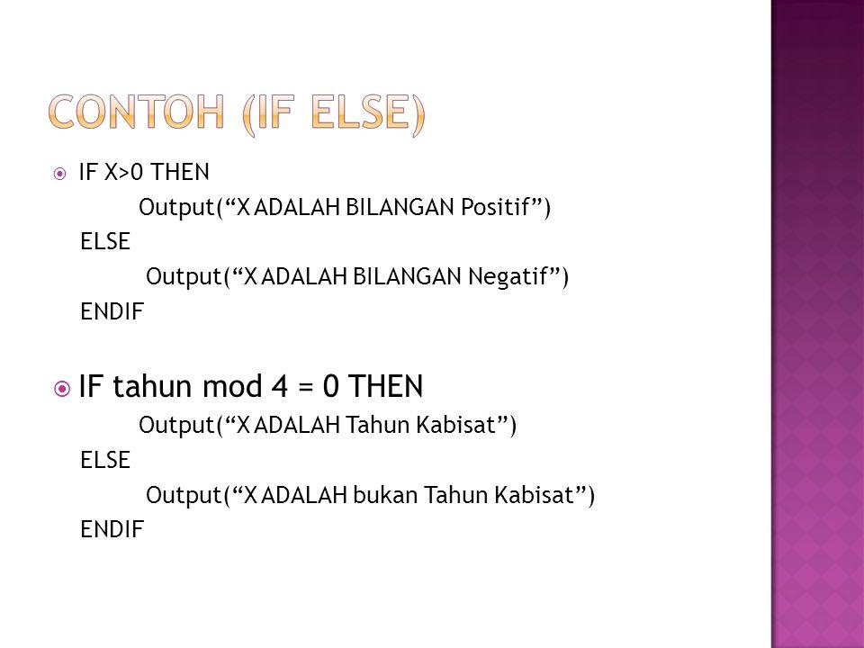  IF X>0 THEN Output( X ADALAH BILANGAN Positif ) ELSE Output( X ADALAH BILANGAN Negatif ) ENDIF  IF tahun mod 4 = 0 THEN Output( X ADALAH Tahun Kabisat ) ELSE Output( X ADALAH bukan Tahun Kabisat ) ENDIF