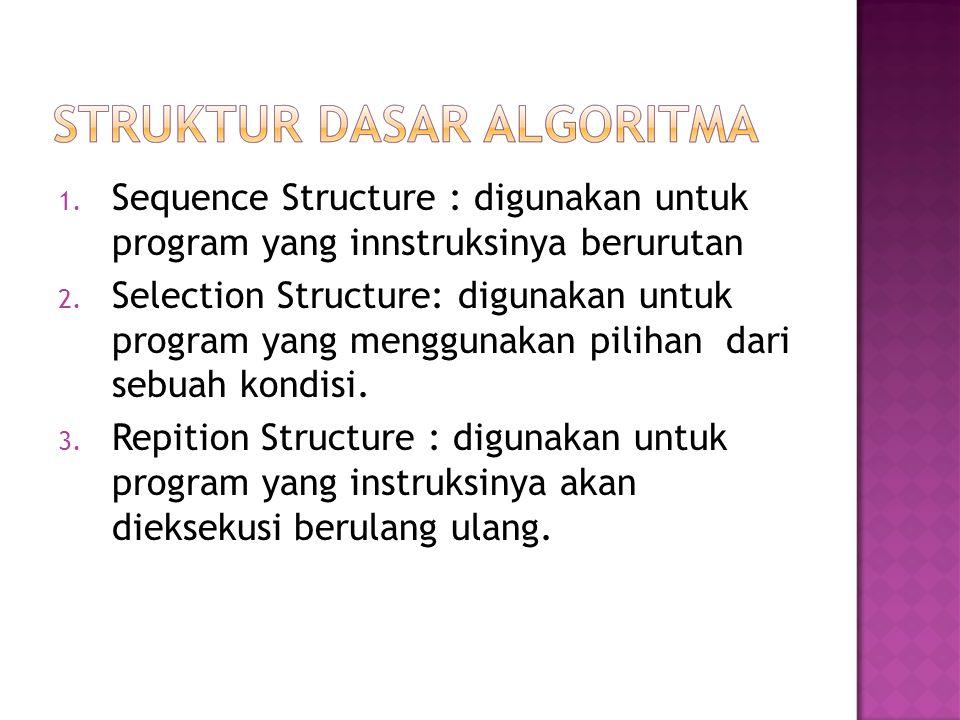  Setiap instruksi akan dikerjakan satu-satu  Setiap instruksi akan dilaksanakan tepat 1 kali, tidak ada instruksi yang diulang maupun tidak dilaksanakan  Urutan instruksi yang dilaksanakan pemroses sama dengan urutan aksi sebagaimana tertulis dalam teks algoritmanya  Aksi dari instruksi terakhir merupakan akhir algoritma  Bila runtutan instruksi dalam algoritma berturut- turut dilambangkan dengan A1,A2,A3,A4 dan A5 maka pelaksanaan instruksi tersebut adalah :