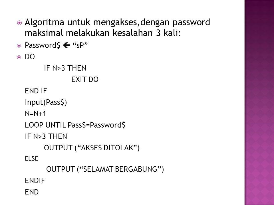  Algoritma untuk mengakses,dengan password maksimal melakukan kesalahan 3 kali:  Password$  sP  DO IF N>3 THEN EXIT DO END IF Input(Pass$) N=N+1 LOOP UNTIL Pass$=Password$ IF N>3 THEN OUTPUT ( AKSES DITOLAK ) ELSE OUTPUT ( SELAMAT BERGABUNG ) ENDIF END