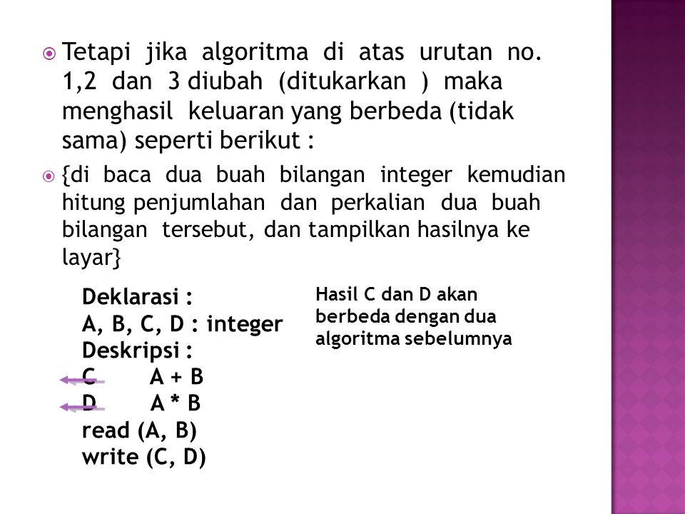  Algoritma untuk menjumlahkan deret 1+3+5+..+Un Input (Un) Jml  0 Angka  1 DO Jml  Jml+Angka Angka  Angka+1 LOOP WHILE Angka<=Un Output(Jml) END