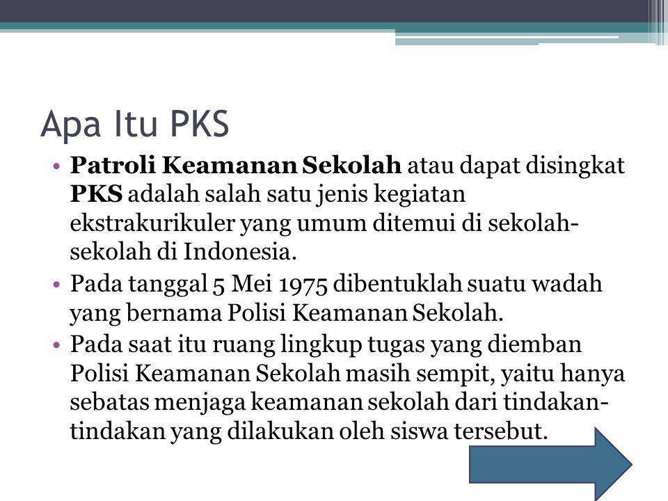Apa Itu PKS Patroli Keamanan Sekolah atau dapat disingkat PKS adalah salah satu jenis kegiatan ekstrakurikuler yang umum ditemui di sekolah- sekolah di Indonesia.