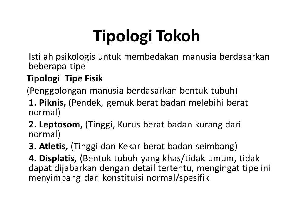 Tipologi Tokoh Istilah psikologis untuk membedakan manusia berdasarkan beberapa tipe Tipologi Tipe Fisik (Penggolongan manusia berdasarkan bentuk tubuh) 1.