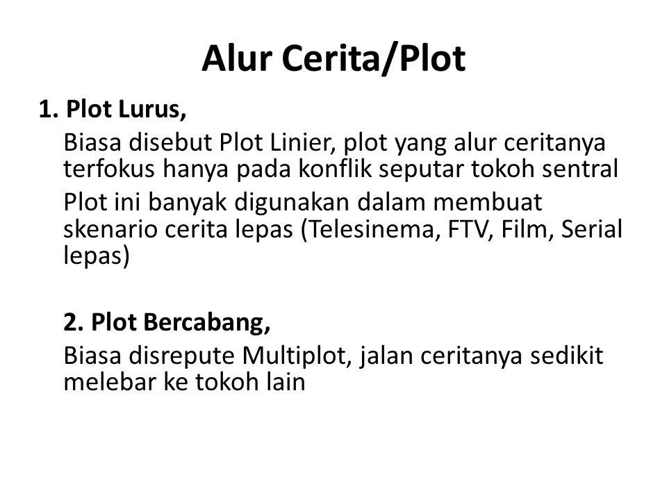 Alur Cerita/Plot 1. Plot Lurus, Biasa disebut Plot Linier, plot yang alur ceritanya terfokus hanya pada konflik seputar tokoh sentral Plot ini banyak