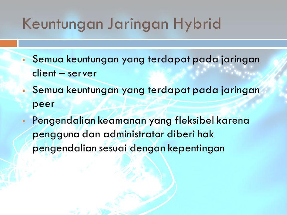 Keuntungan Jaringan Hybrid  Semua keuntungan yang terdapat pada jaringan client – server  Semua keuntungan yang terdapat pada jaringan peer  Pengen