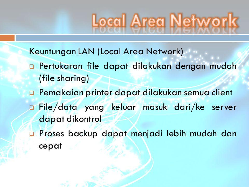 Keuntungan LAN (Local Area Network)  Pertukaran file dapat dilakukan dengan mudah (file sharing)  Pemakaian printer dapat dilakukan semua client  F