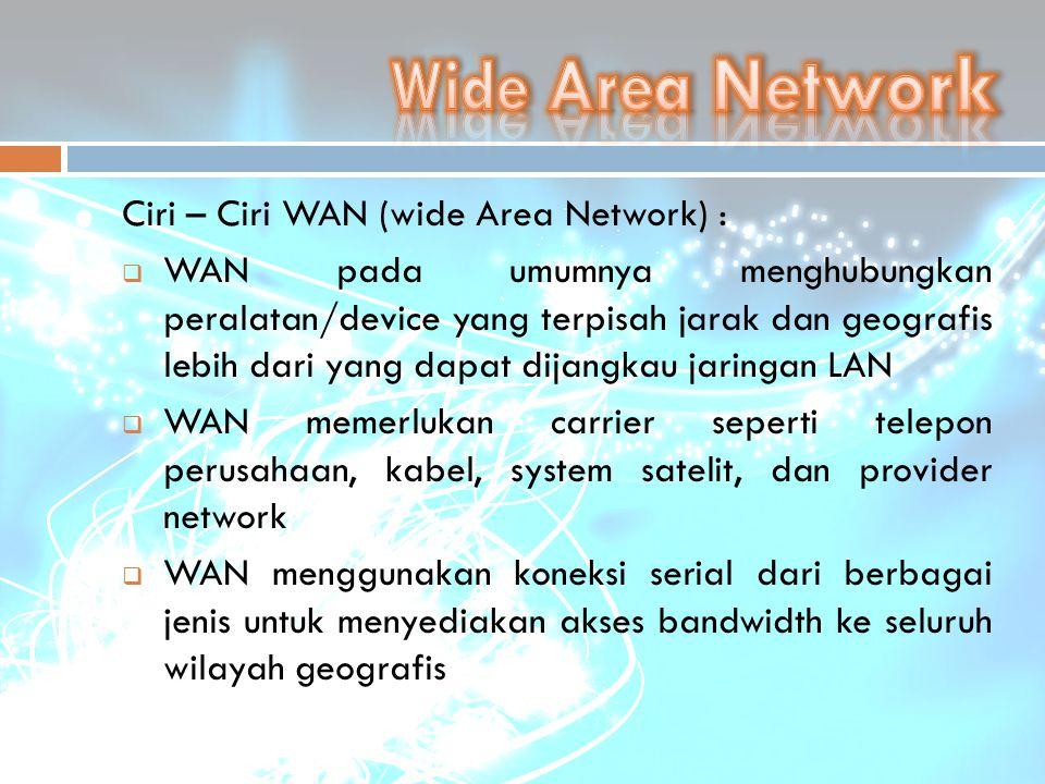 Ciri – Ciri WAN (wide Area Network) :  WAN pada umumnya menghubungkan peralatan/device yang terpisah jarak dan geografis lebih dari yang dapat dijang